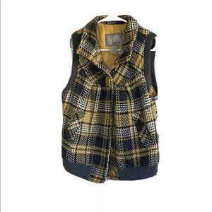 Vintage Daytrip Medium Vest Plaid Wool Vest Hooded
